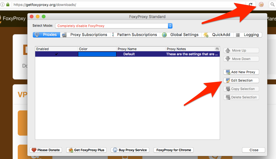 FoxyProxy Firefox main window