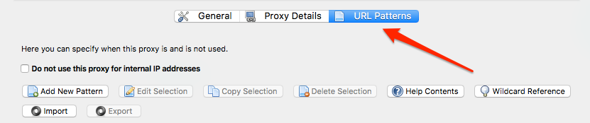 FoxyProxy URL patterns button